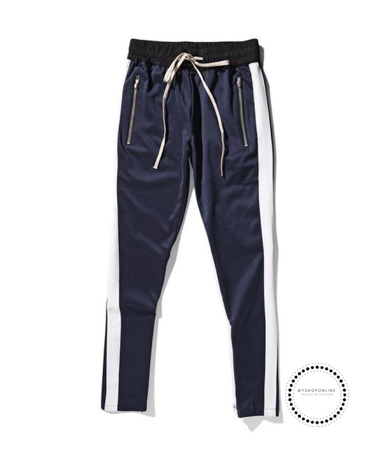 Pants Hip Hop Fashion Urban Clothing Fog Joining Together Jogger Blue White / L