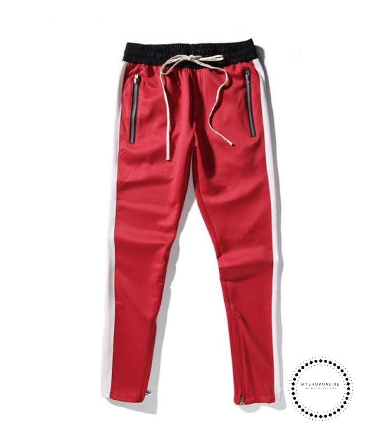 Pants Hip Hop Fashion Urban Clothing Fog Joining Together Jogger Red White / L