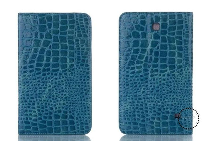 Pen+Film+Luxury Fashion Crocodile Leather Stand Case Smart Cover For All Tablet Cases Blue