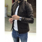 Mens Bomber Jacket Premium Suede Biker Coat Resistant Padded Zip Up Flight Tops
