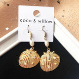 New arrival mix-match statement seashell dangle earrings for women girls gold tone shell drop earrings fashion jewelry for party