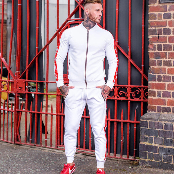 Men Casual Zipper Set Stitching stripe Autumn Tracksuit Set Male Sweatshirt Multi-pocket Fashion High Street Jackets Set
