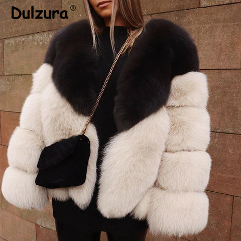 Fashion Women Luxury Patchwork Faux Fox Fur Jacket Coat Winter Street V Neck Thicken Warm Outerwear Casual Fuzzy Cozy Overcoat