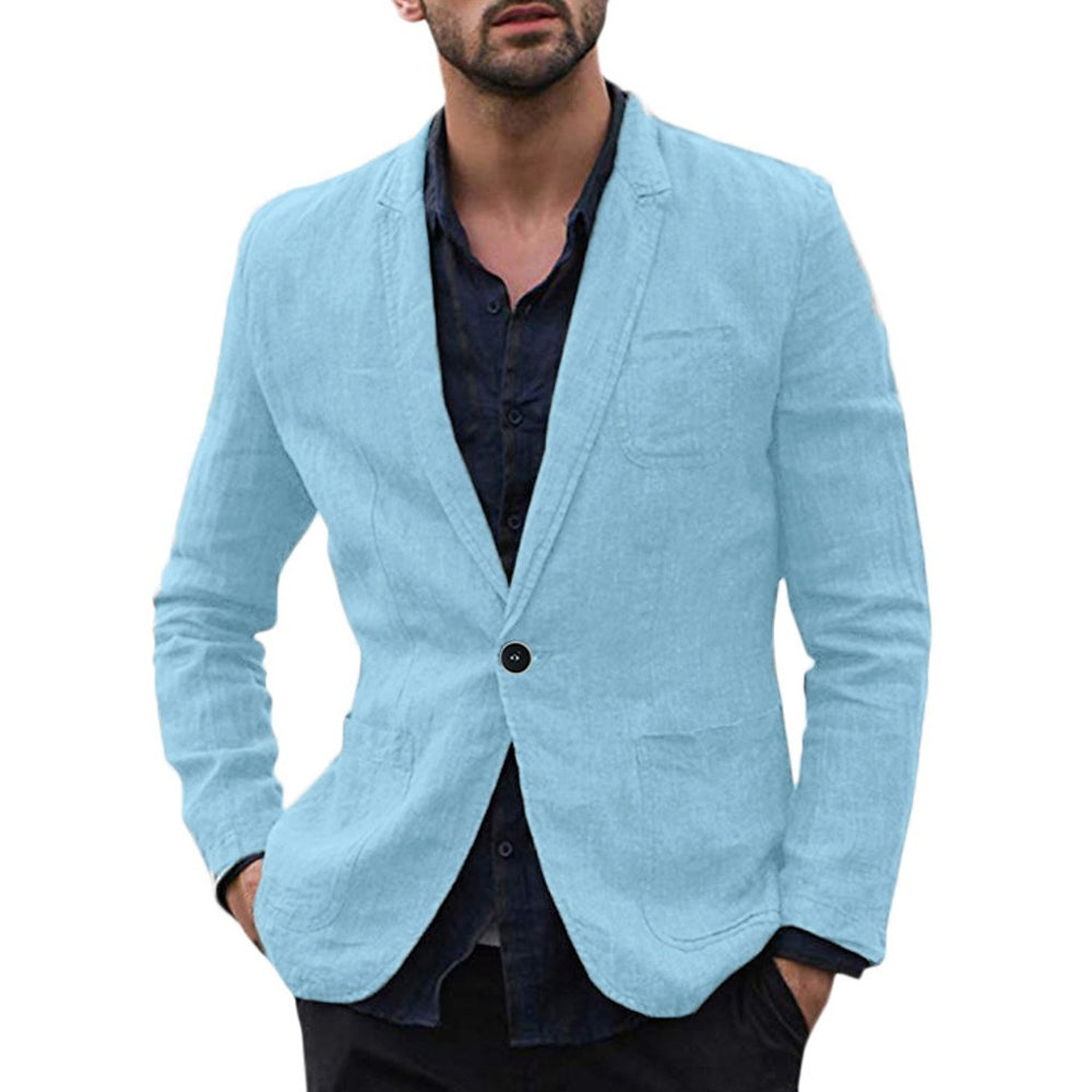 men blazer masculino sobretudo masculino blazers new Slim Fit Cotton Blend Solid Long Sleeve Thin Suits polyester Coat