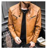 Spring MEN'S Leather Coat Korean-style Slim Fit Youth Leather Jacket plus Velvet Stand Collar Locomotive Men's PU Leather C