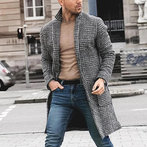 Men blazers Casual vintage retro Plaid Jacket Lapel Coat Long Sleeve Pocket Slim Cardigan Plus Size long tops