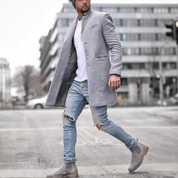 Men jackets vintage Casual  Lapel Coat Solid Color Long Sleeve Slim Single-breasted Tops Wool Blends