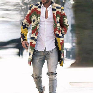 Men's jackets fashion Print Single-breasted Lapel Suit Jacket Slim Long Sleeve Long Windbreaker male coat