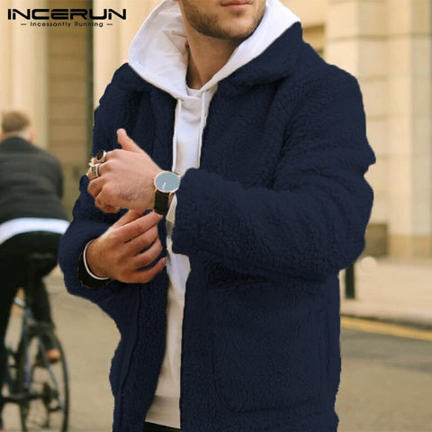 Men Long Sleeve Lapel Neck Zip Coat Furry Warm Autumn Winter Vintage Solid Trend Mens Pockets Outerwear Jackets Hombre