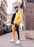 Street trendy hip hop tracksuit Spring Autumn Contrast color patchwork long sleeve t-shirts+pants Male casual fashion two-pieces