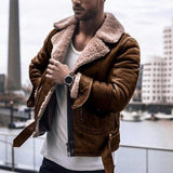 Men Coat Jacket Autumn Faux Leather Plus Size Casual Fashion Winter Fluffy