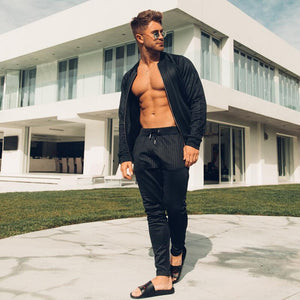 brand Men stand-up collar  Zipper  Sweatshirts Fashion  Sportswear Men's Slim Fit Tracksuit