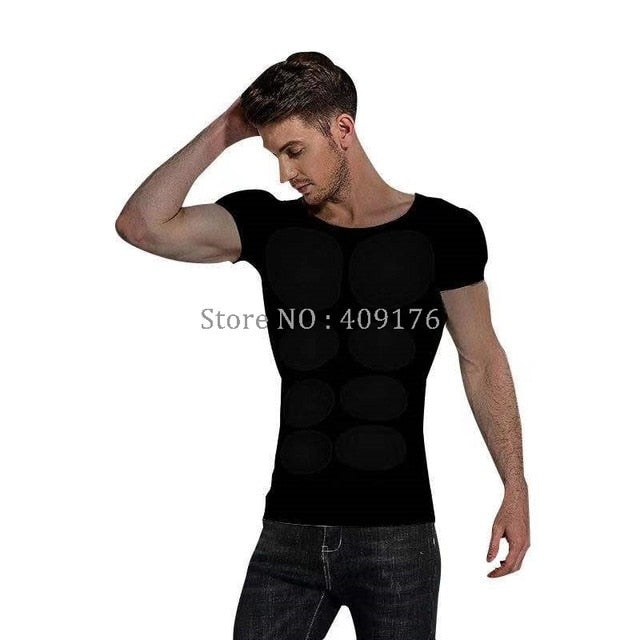 Fake Stomach Muscles 8 Pack Underwear Chest Padded Men Shirt PRAYGER Men Fake Underwear Chest Muscle Tops Invisible Body Shaper