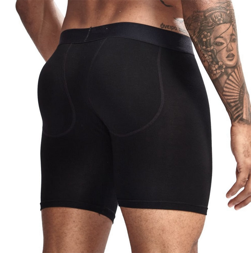 Men Sexy Padded Long Boxer Underwear Butt-Enhancing Underpant Trunk Removable Pad Butt Lifter Enlarge Pouch Shorts Male Panties