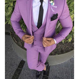 Latest Coat Pant Design Purple Pink Men Suit Slim Fit Groom Tuxedo 3 Piece Custom Wedding Suits Prom Blazer Terno Masculino