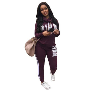 Spring Letter Pink Print Tracksuit Women Casual Outfits Two Piece Set Pants Suits Plus Size Clothing Sets XXXL