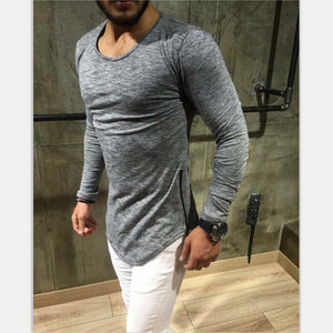 Men T shirts Super Longline With short sleeves T-Shirt Hip Hop Arc hem With Curve Hem Side Zip Tops tee S-3XL