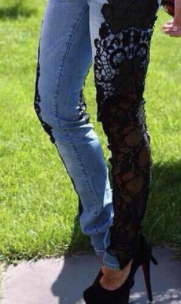 Sexy Women Ripped Skinny Jeans Lace Crochet Lady Trousers Mid Waist Female Slim Denim Pencil Pants Plus Size 3XL