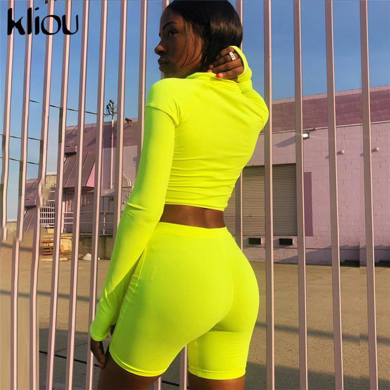 Fluorescence Fitness Two Pieces Sets 2018 Autumn Full Sleeve Zipper Turtleneck Tops And High Waist Shorts Suits