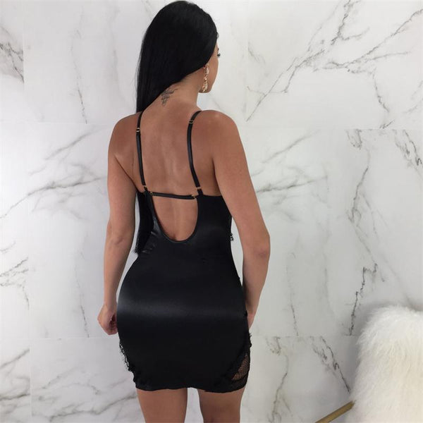 Summer New Female Spaghetti Straplace Mesh Dresses Women's V-neck Vintage Dress See Through  Night Club Sexy Party Dress