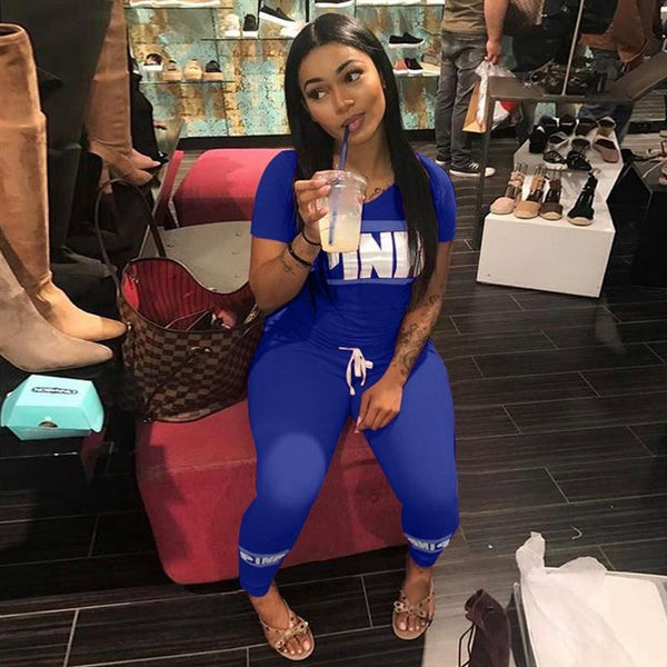 Pink Letter Print 2pcs Tracksuits Women Two Piece Set Street T-shirt Tops And Jogger Set Suits Casual 2pcs Outfits