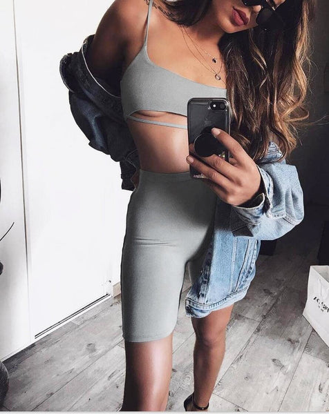 Sexy Short Two Piece Set Crop Tops and Biker Shorts Grey Black Bodycon Matching Sets Summer Clothes for Women