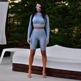high neck long sleeve elastic crop tops shorts 2 pieces set 2018 autumn winter women fashion casual solid sets