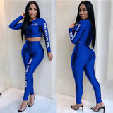Women Tops And Pants Two Piece Set Tracksuit Womens Outfits Letter Printed Autumn Winter Long Sleeve Casual 2 Piece Sets