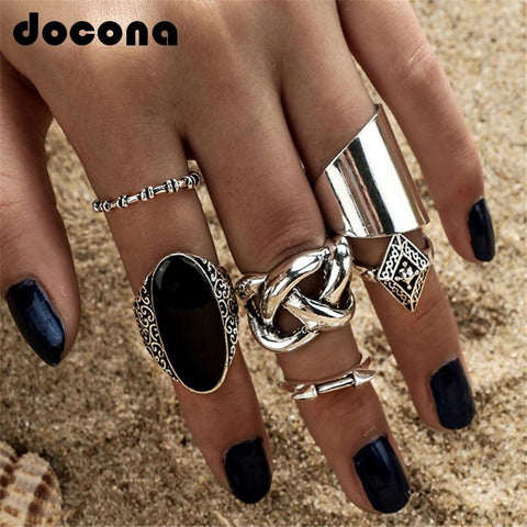 5pcs/Set Fashion High Quality Bohemia Style Rings Set Classic Shape Pattern Crystal Pendant for Women Charm Jewelry - myshoponline.com