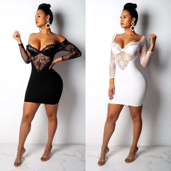 Hollow Out Lace Dress Bodycon Ladies V Neck Dress 2019 Backless Pocket Hip Party Dresses Women Sexy Night Club Wear