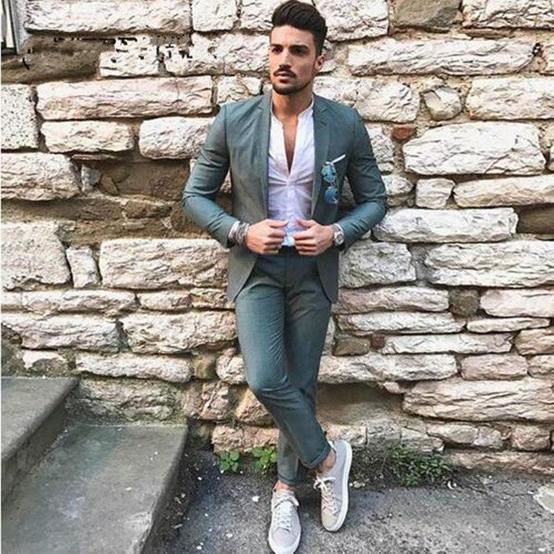 Latest Designers Green Men Suits for Wedding Slim Fit Groomsmen Tuxedos Handsome Groom Wedding Tuxedos Men Suits (jakcet+pant)
