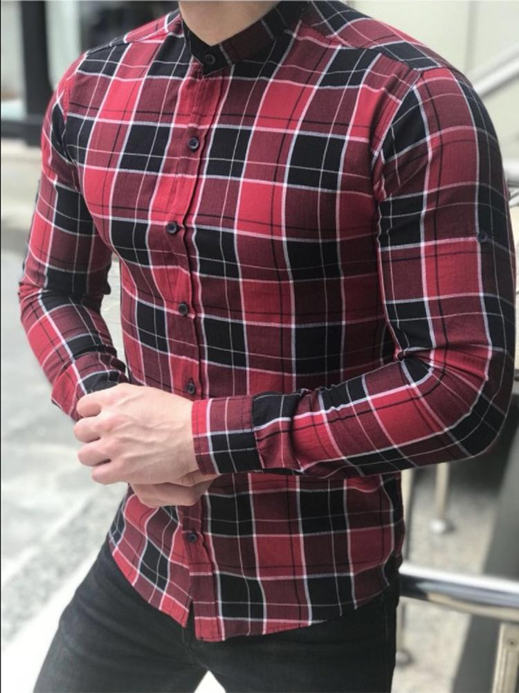Fashion Men's Summer Casual Dress Shirt Mens Smart Casual Plaid Long Sleeve Shirts Tops Tee