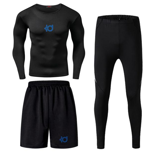 Men Fitness Wear Tights Sportswear Basketball Training Quick Drying Three Running Clothes Gym Compression Sets