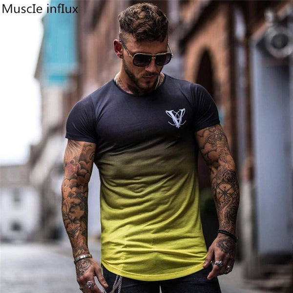 New Clothing Fashion T Shirt Men Compression Breathable Mens Short Sleeve Fitness t-shirt Crossfit Gyms Tee Tight Casual  Top