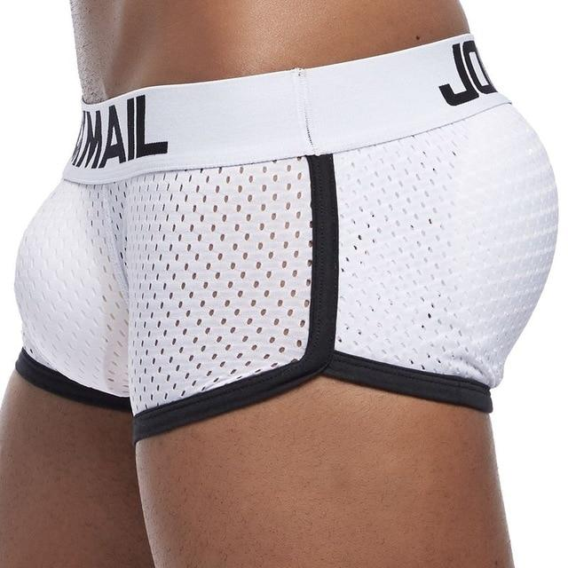 Breathable Mesh Enhancing Padded Hip Sexy Boxer Men Underwear Removable Enhancement Two Butt Pads and penis Pad - myshoponline.com