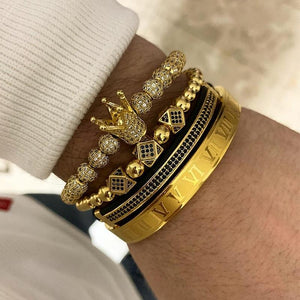 3pcs/set+Bangle Men Bracelet jewelry crown charms Macrame beads Bracelets Braiding Man Luxury Jewelry for women bracelet gift - myshoponline.com