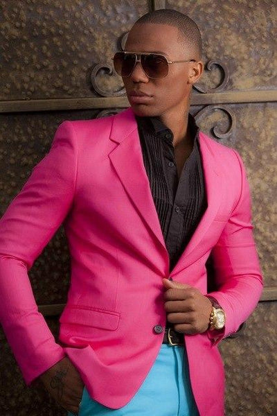 New Fashion Hot Pink Mens Suit Blazer With Blue Pants Custom Young Wedding Party suits Prom Tuxedo For Men (Jacket+Pant)