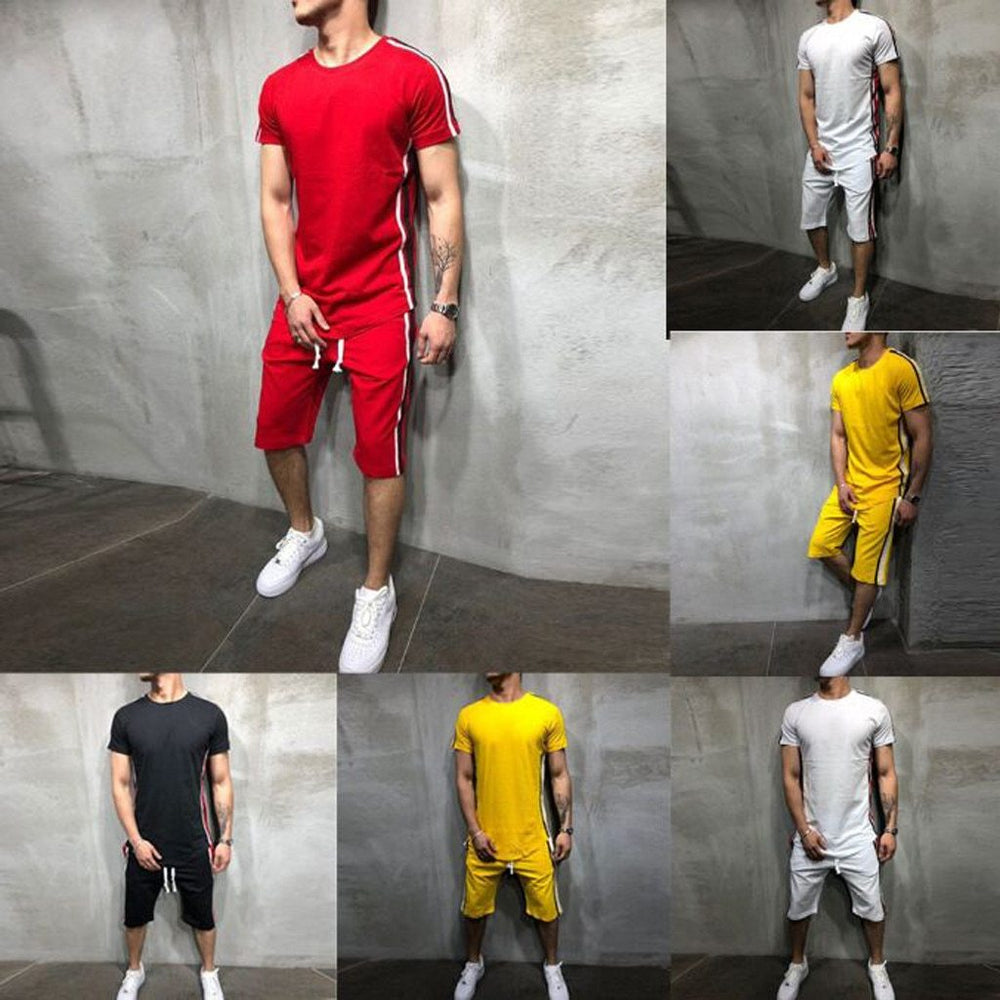 Summer Men Set 2PC Sporting Suit Short Sleeve T shirt+Shorts Two Piece Set Sweatsuit+Pants Quick Drying Tracksuit Free Ring Sets