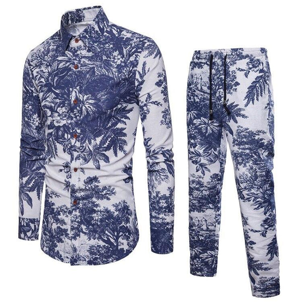 Fashion Flower Printed Men Set Long Pant Casual 2018 Holiday Vacation Clothing Suit Beach Party Clothes Sets