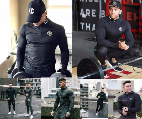 Quick Dry Compression Shirt Long Sleeves T Shirt Plus Size Fitness Clothing Solid Colorquick