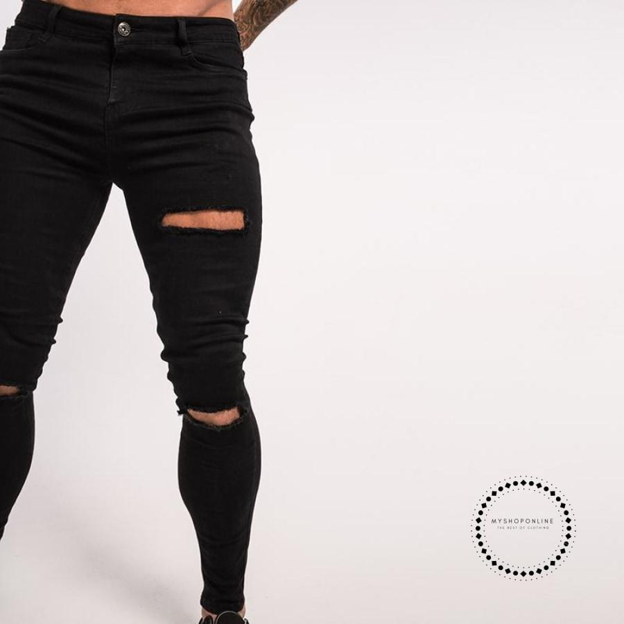 Ripped Skinny Jeans Men Stretchy Hip Hop Biker Accesorios