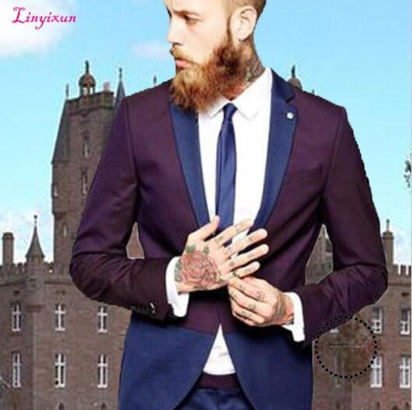 Royal Bule/purpel Costume Homme Mariage Tuxedo Formal Suits For Wedding Ternos Masculino Traje Men