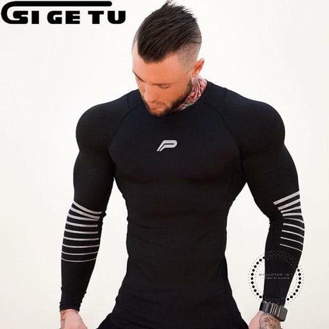 Running Bodybuilding Long Sleeve T Shirt Men Quick Dry Compression Tight Jersey Fitness Gym Training