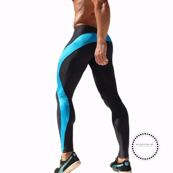 Running Men Pants Training Compression Leggings For Stretch Blue 2 / M