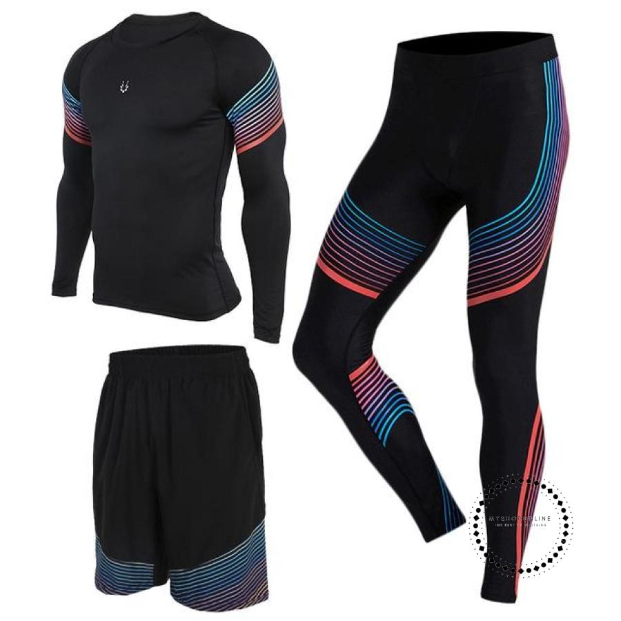 Running Suits Mens Sport Compression Shirt Men 5Pcs/set Training Tracksuits Gym Clothing Sets Tc2004