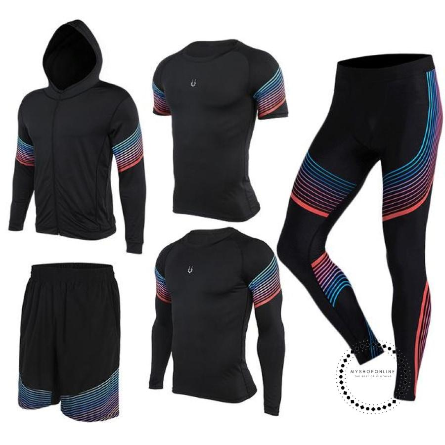Running Suits Mens Sport Compression Shirt Men 5Pcs/set Training Tracksuits Gym Clothing Sets Tc2014