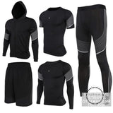 Running Suits Mens Sport Compression Shirt Men 5Pcs/set Training Tracksuits Gym Clothing Sets Tc2016