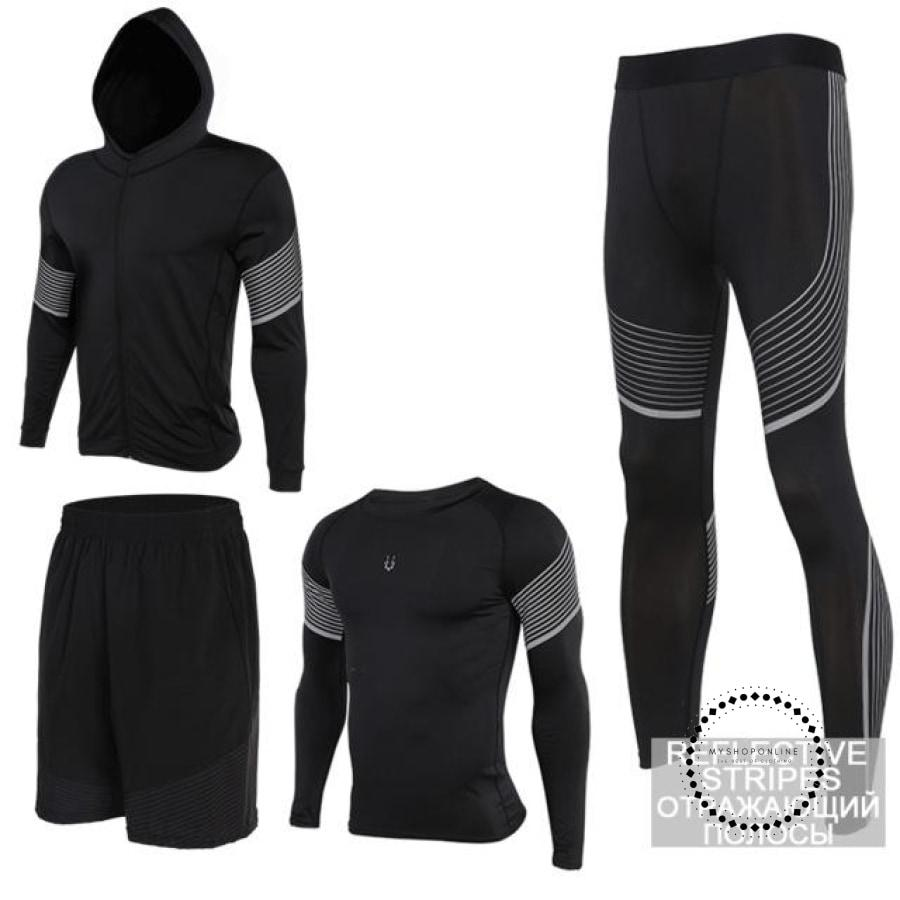 Running Suits Mens Sport Compression Shirt Men 5Pcs/set Training Tracksuits Gym Clothing Sets Tc2018