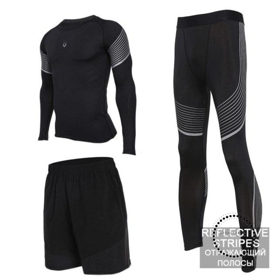 Running Suits Mens Sport Compression Shirt Men 5Pcs/set Training Tracksuits Gym Clothing Sets Tc2019