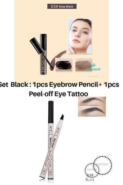 Set 2 Pcs Beauty Peel-Off Eye Brow Tattoo + Eyebrow Pencil Black Cosmetic